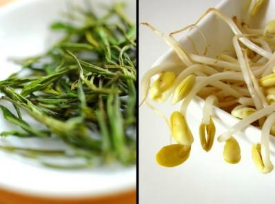 Grüner Tee und Sojabohnen